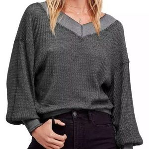 Free People Southside Thermal Pullover BLACK